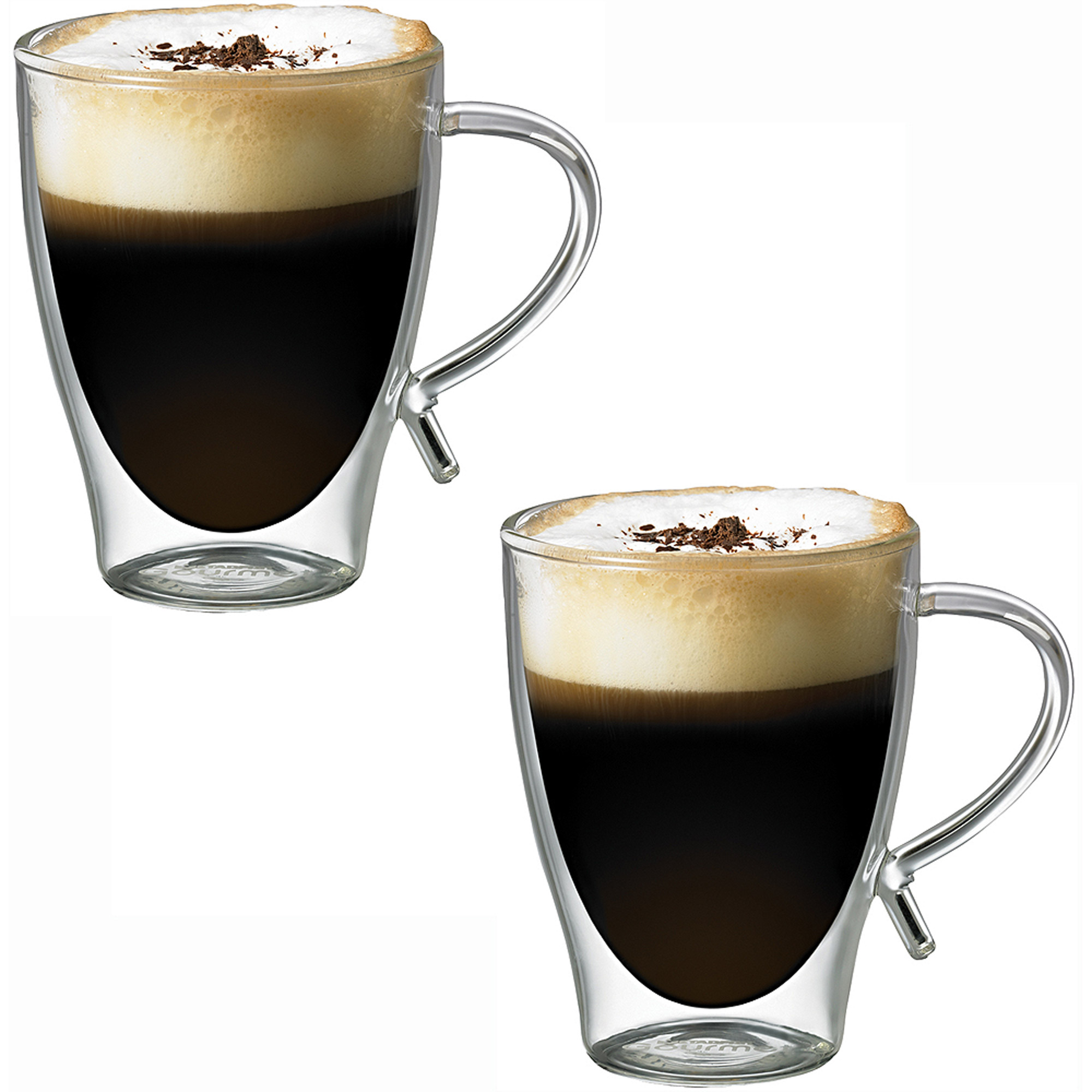 Starfrit Double-Wall Glass Coffee Cups, 12 oz, 2pk