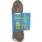 Prime Wire 15-Foot 16/2 SPT-2 3-Outlet Indoor Cord, Brown