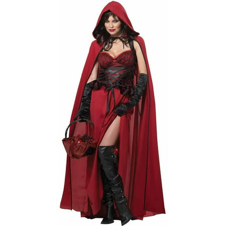 Dark Red Riding Hood Women's Adult Halloween Costume (Halloween Makeup Little Red Riding Hood)