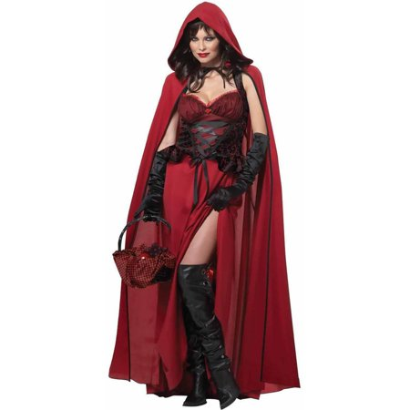 Dark Red Riding Hood Women's Adult Halloween Costume - Little Red Riding Hood Grandmother Costume