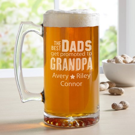Personalized The Best Dads Get Promoted Oversized Beer Mug, 25