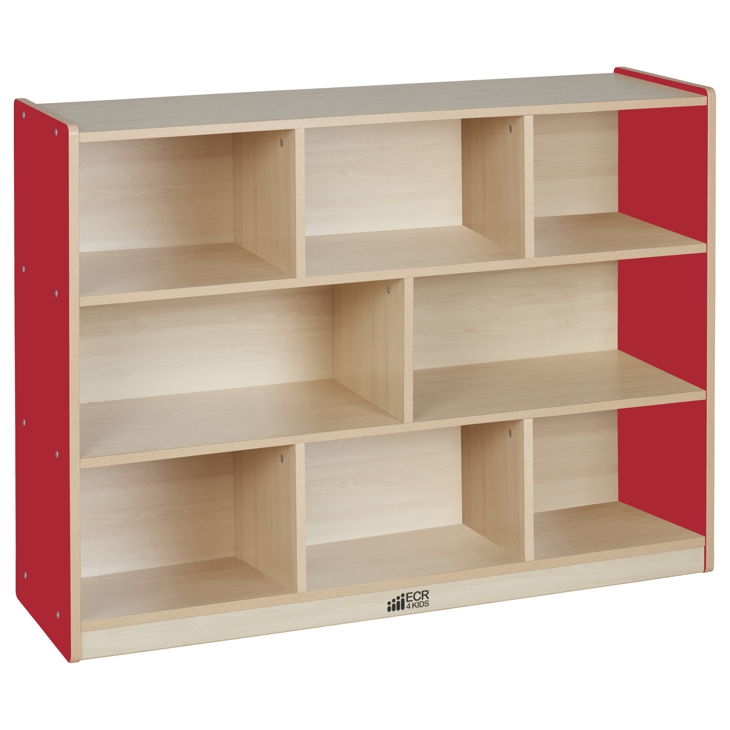 Colorful Essentials 8-Compartment Storage Cabinet 36in H - Maple/Red