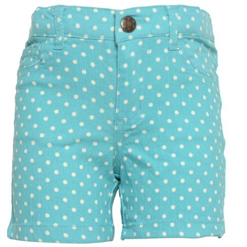 Girls Turquoise White Polka Dotted Pattern Tie Bow Waist Shorts 7