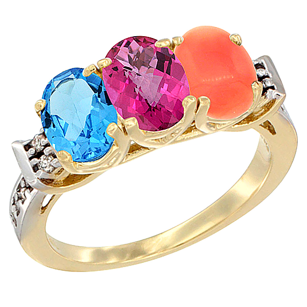 14K Yellow Gold Natural Swiss Blue Topaz, Pink Topaz & Coral Ring 3-Stone 7x5 mm Oval Diamond Accent, sizes 5 10 by WorldJewels