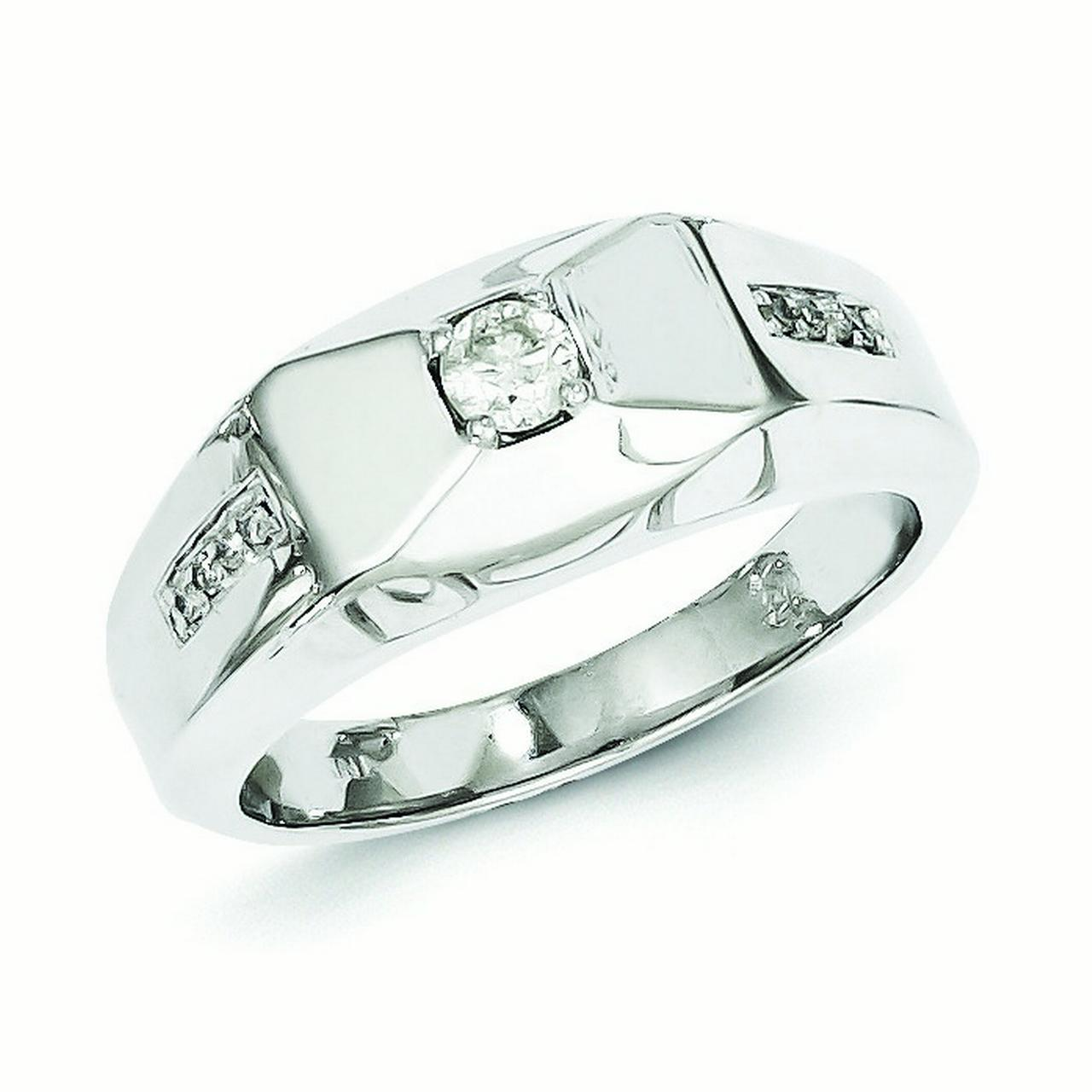 Sterling Silver Rhodium Plated Diamond Mens Ring - Ring Size: 9 to 11