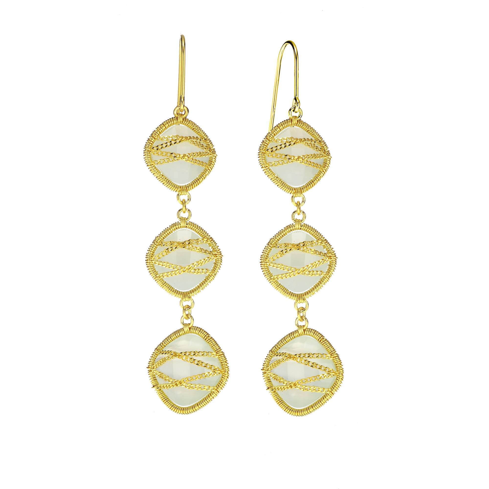 Image of 5th & Main 18kt Gold over Sterling Silver Hand-Wrapped Triple-Drop Squared Chalcedony Stone Earrings