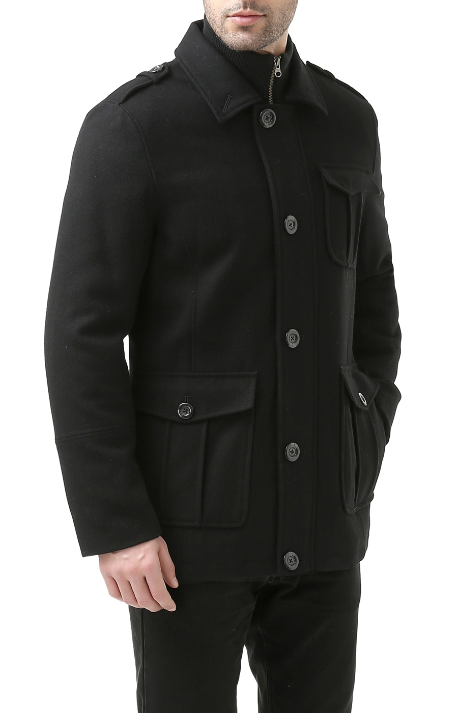 BGSD Men's 'Harrison' Wool Blend Knit Collar Car Coat by