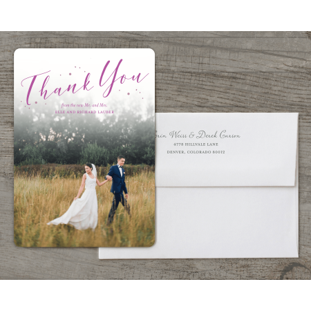 Personalized Wedding Thank You Card - Fairytale Flora - 5 x 7 Flat Deluxe (Wedding Thank You Examples)