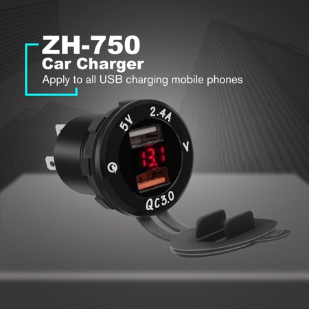 Universal USB Car Charger DC12V-24V Dual USB QC3.0 Fast Charge Vehicle Charger - image 6 de 7