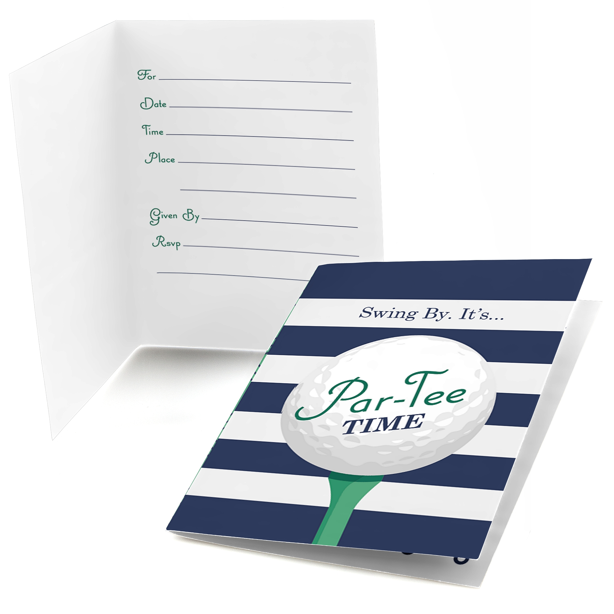 Par-Tee Time - Golf - Fill In Birthday or Retirement Party Invitations (8 count)