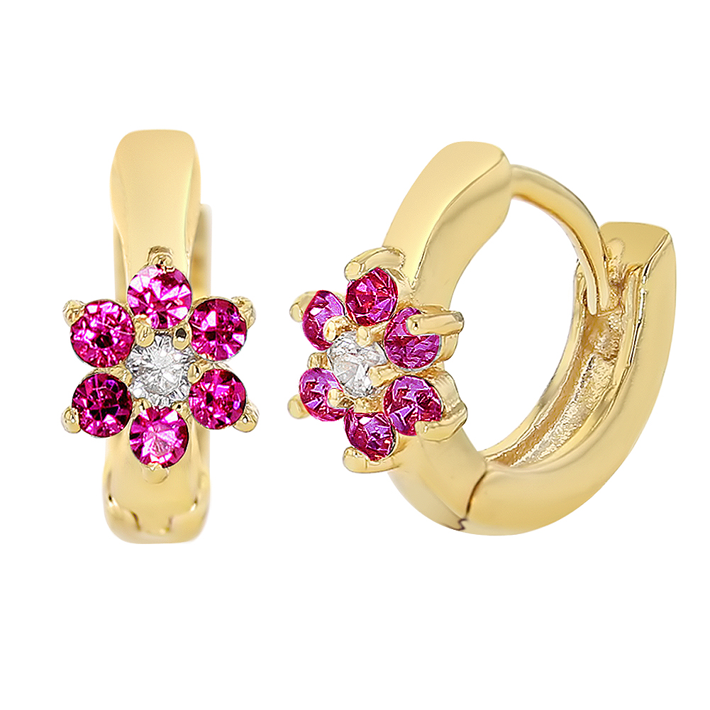 18k Gold Plated Fuchsia & Clear CZ Hoop Huggie Flower Baby Girls Earrings 7mm