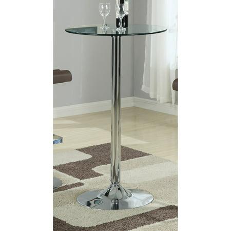 Chrome Modern Bar Table (Coaster Furniture Glass Top Bar)