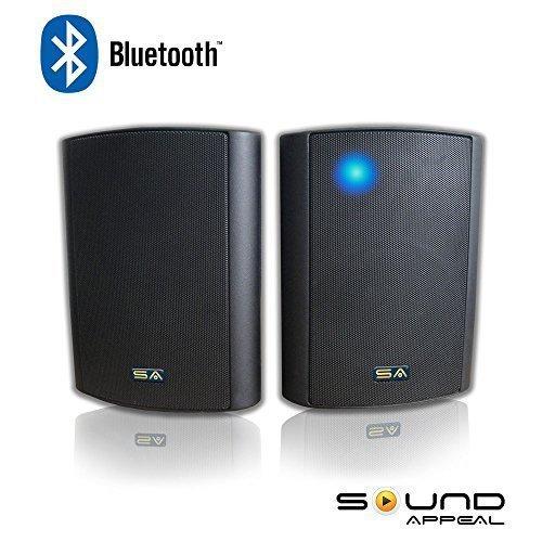 "Bluetooth 6.50"" Indoor Outdoor Weatherproof Patio Speakers, Wireless Outdoor Speakers (Black- pair),by... by Sound Appeal"