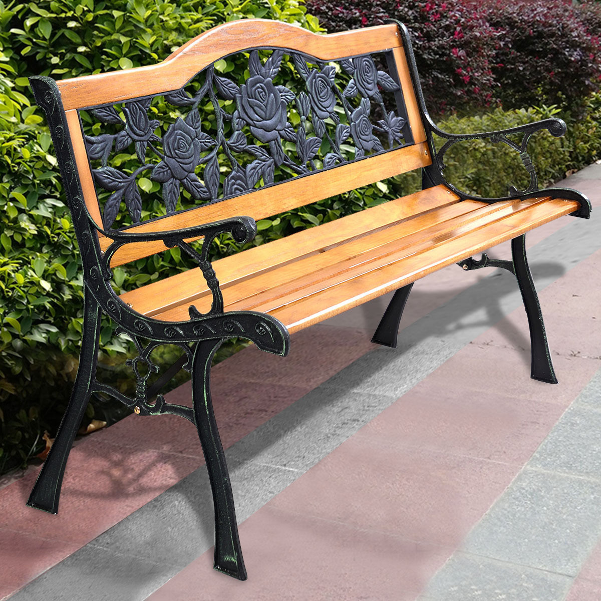 Costway Patio Park Garden Bench Porch Path Chair Furniture Cast Iron  Hardwood