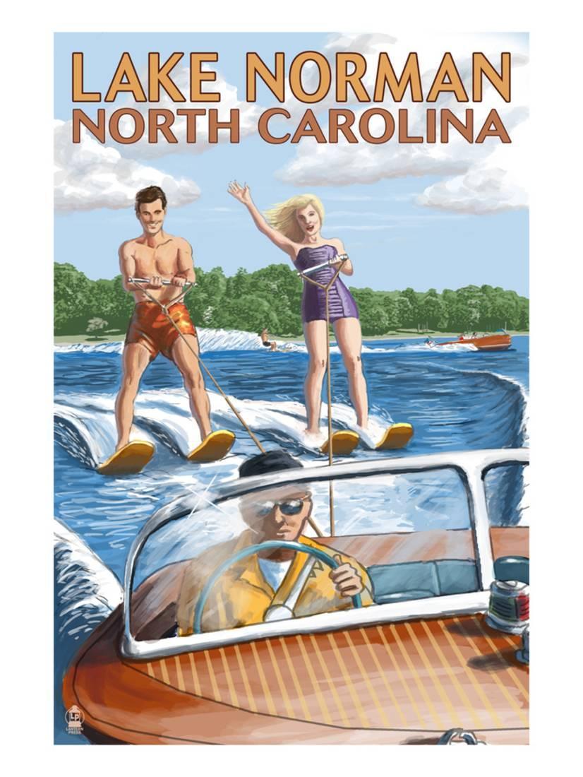 Lake Norman, North Carolina Water Skiing By Lantern Press by Art.com