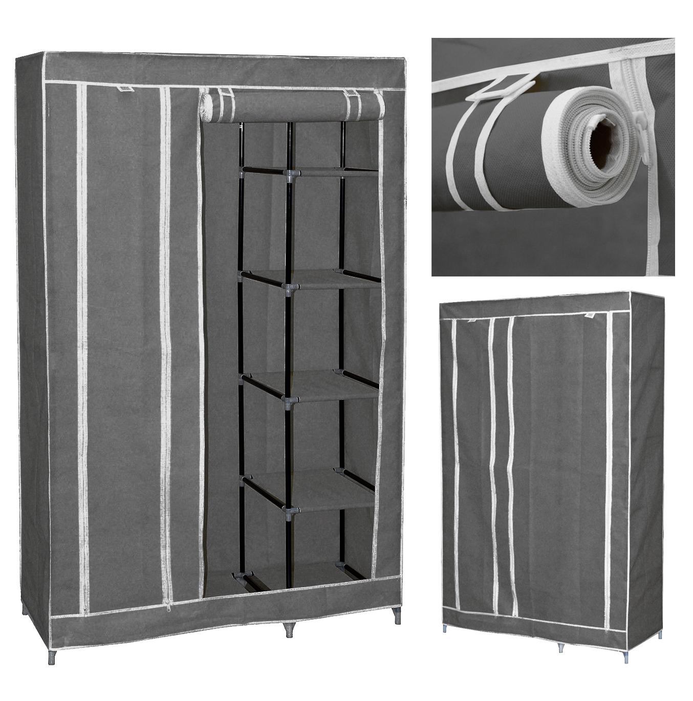 "New 69"" Portable Closet Storage Organizer Wardrobe Clothes Rack with Shelves"