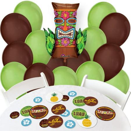 Tiki Luau - Confetti and Balloon Tropical Hawaiian Summer Party Decorations - Combo Kit - Luau Pinata