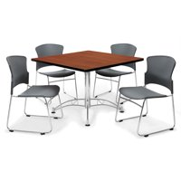 "OFM Multi-Use Break Room Package, 36"" Square Table with Plastic Stack Chairs, Cherry Finish with Chrome-Plated Steel Base and Gray Seats (PKG-BRK-09)"