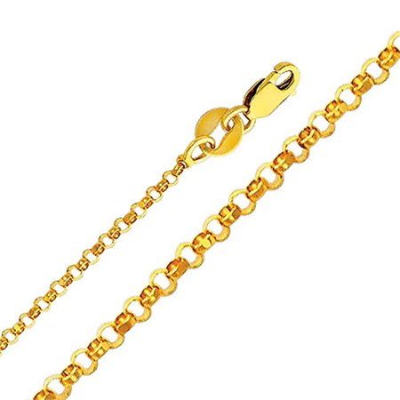 Jewelry 14k Yellow Gold 1.6-mm Classic Rolo Chain Necklace (16 inch) - image 1 of 1