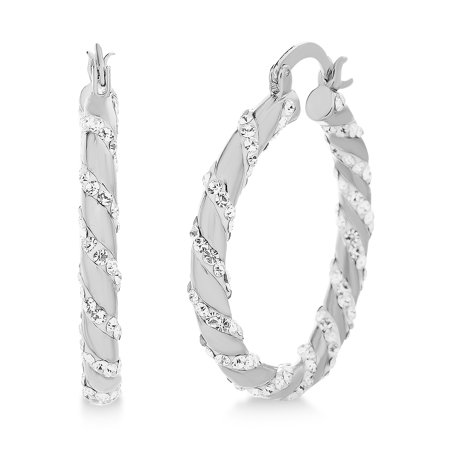 Swarovski Crystal Hoop (Womens White Twisting Design Hoop Earrings made with Swarovski)