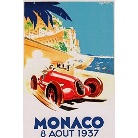 - Grand Prix De Monaco Poster 1937 French Vintage Car Racing New 24x36