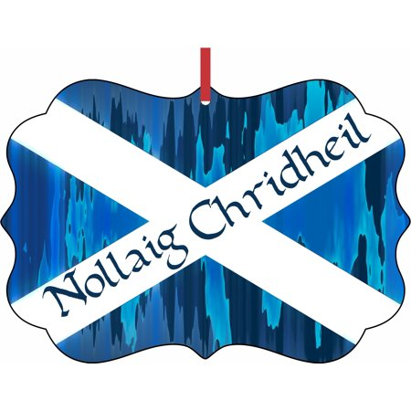 Flag of Scotland Nollaig Chridheil Elegant Aluminum SemiGloss Christmas Ornament Tree Decoration - Unique Modern Novelty Tree Décor Favors](Unique Christmas Tree Decorations)