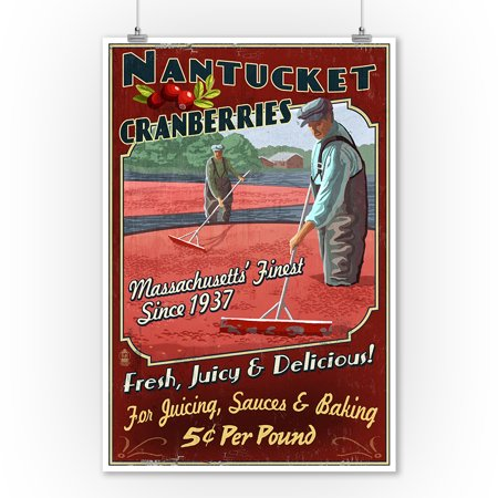 Nantucket  Massachusetts   Cranberry Farm Vintage Sign   Lantern Press Poster  9X12 Art Print  Wall Decor Travel Poster