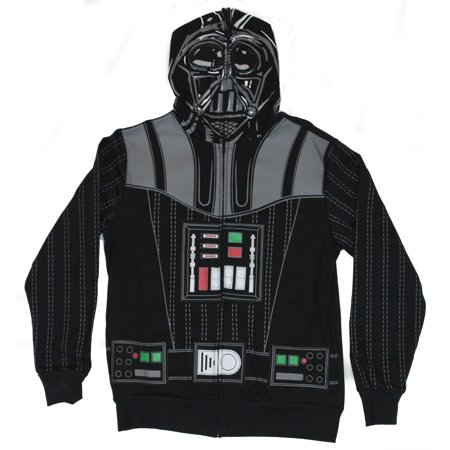 Star Wars Mens Hoodie Sweatshirt - Darth Vader Costume Front With Zip Up - Star Wars Costume Hoodie
