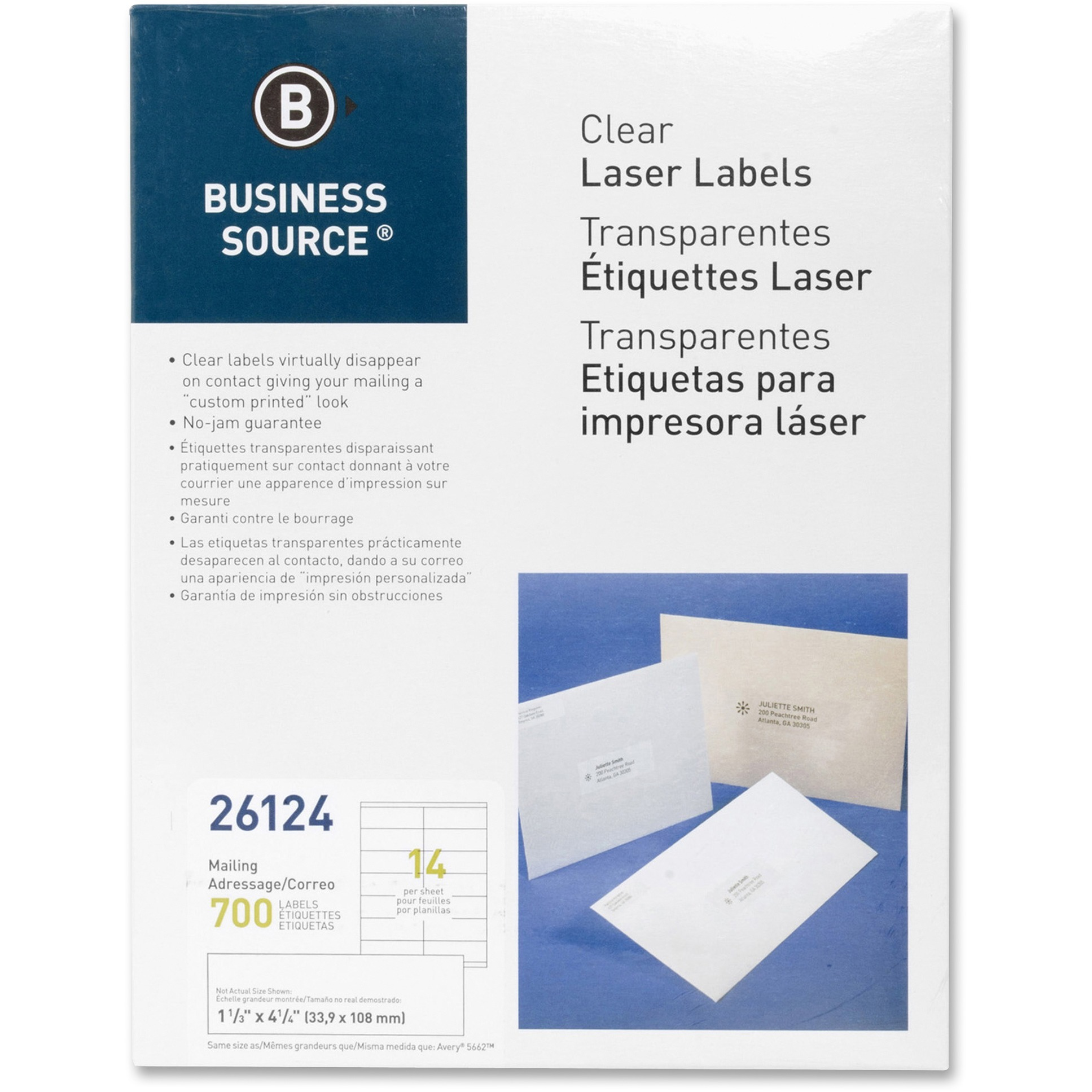 Business Source, BSN26124, Clear Return Address Laser Labels, 700 / Pack, Clear