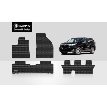 ToughPRO - TOYOTA Highlander Front, 2nd & 3rd Row Mats - All Weather - Heavy Duty - Black Rubber - 2015