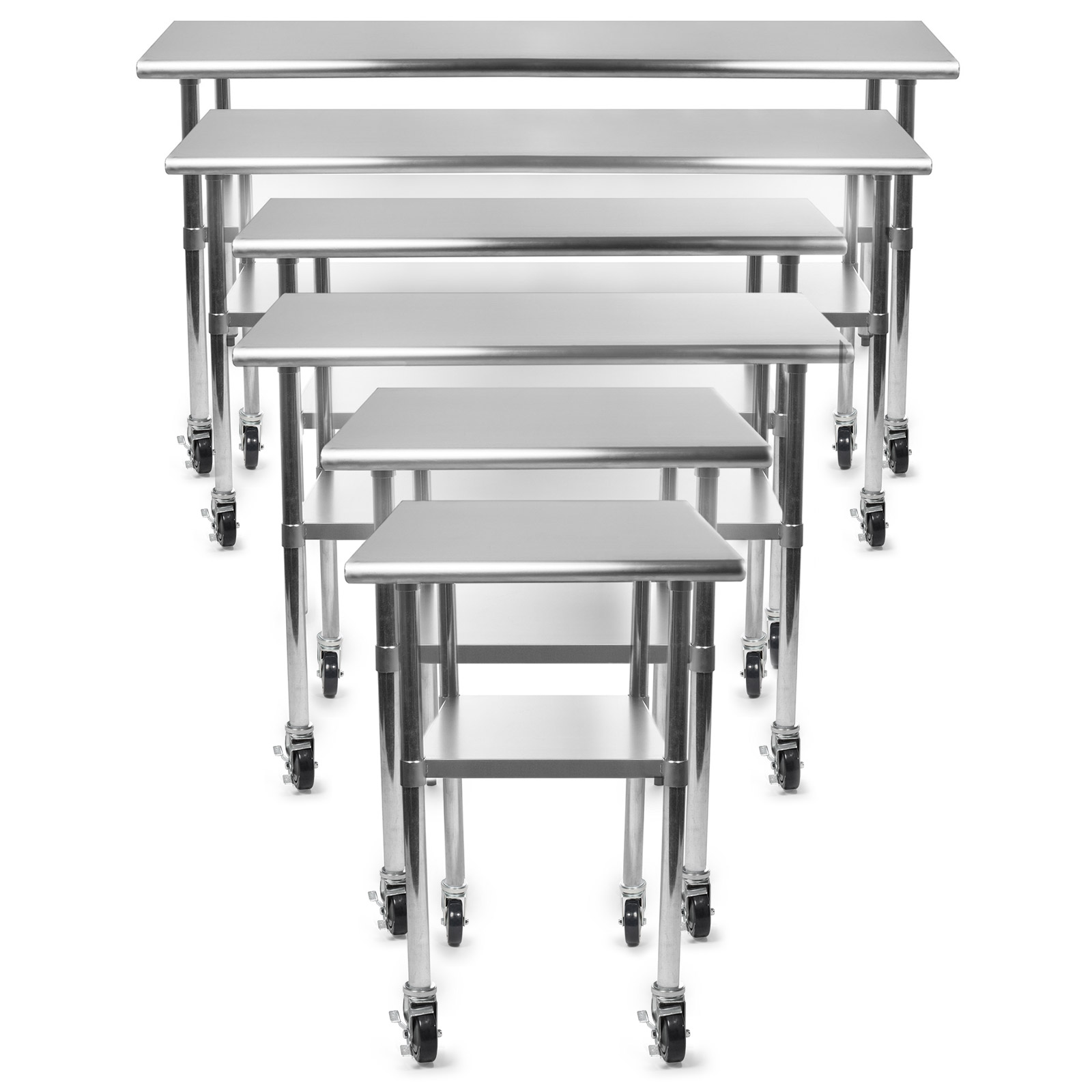 "Gridmann NSF Stainless Steel Commercial Kitchen Prep & Work Table w/ 4 Casters - Multiple Sizes Available - 30"" 36"" 48"" 72"""