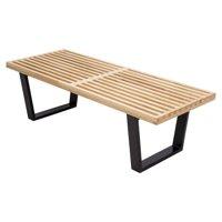 LeisureMod Mid-Century Inwood Platform Bench in Natural Wood - 4 Feet