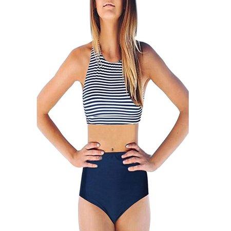 Piece Womens Swimwear - Womens High Waist 2 Piece Stripe Bikini Spa Swimsuit Bathing Suit S