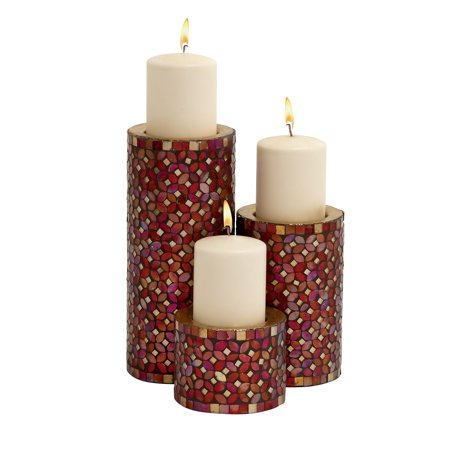7 Inch Candlelight Holder - Decmode Modern 11, 7, and 4 Inch Cylindrical Candle Holders with Red Mosaic Designs - Set of 3