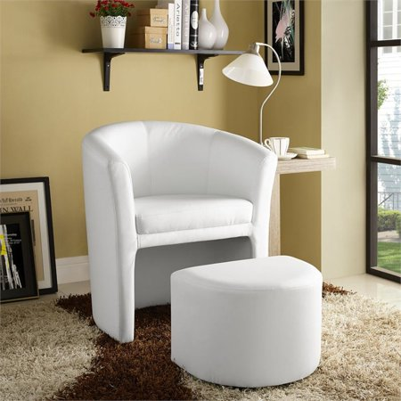 Hawthorne Collection Faux Leather Accent Chair with Ottoman in White - image 5 of 5