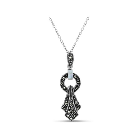 Swarovski Marcasite Sterling Silver Oxidized Mother Of Pearl Drop Pendant,