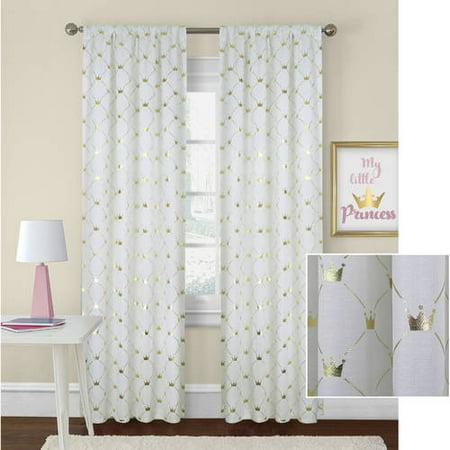Better Homes and Gardens Golden Crowns Metallic Curtain Panel](Gold Metallic Curtains)