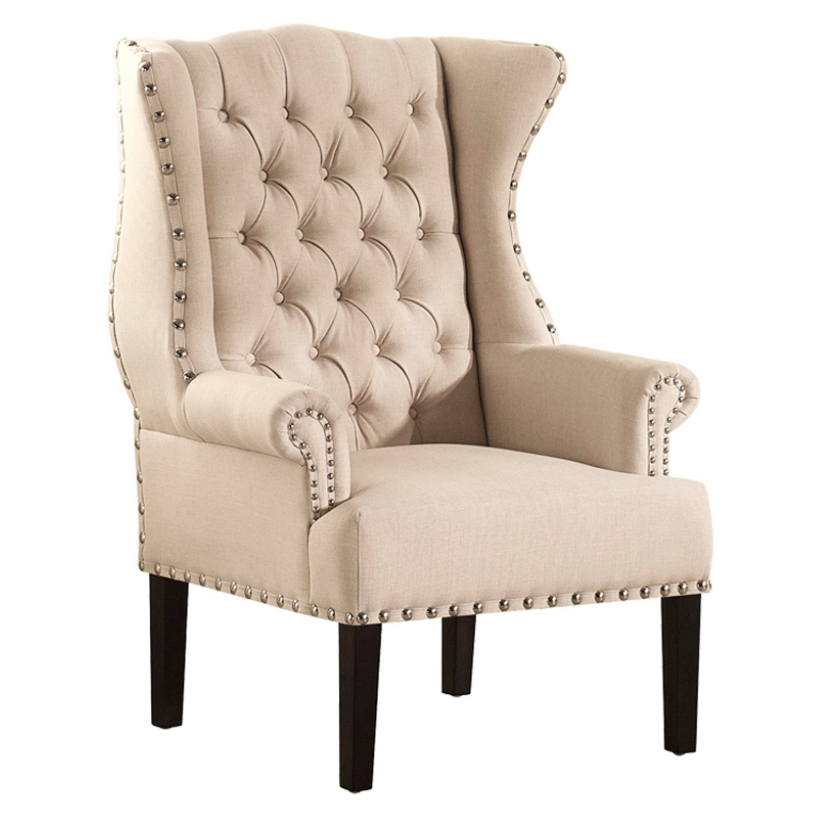 Baxton Studio Knuckey French Country Beige Linen Nailhead Wing-Back Armchair