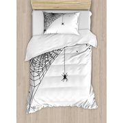 Spider Web Duvet Cover Set, Cobweb with a Hanging Insect Hand Drawn Style Gothic Design with Flies, Decorative Bedding Set with Pillow Shams, Charcoal Grey White, by Ambesonne