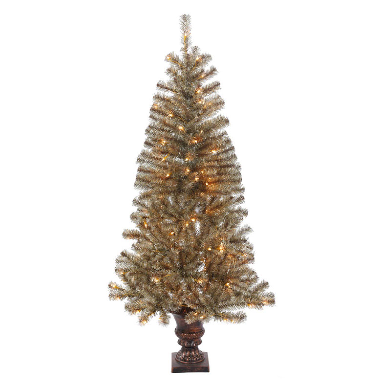 Vickerman 5' Potted Mocha Tinsel Artificial Christmas Tree ...