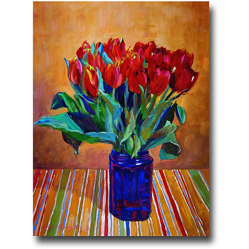 "Trademark Art ""Tulips In Blue Glass"" Canvas Wall Art by David Lloyd Glover"