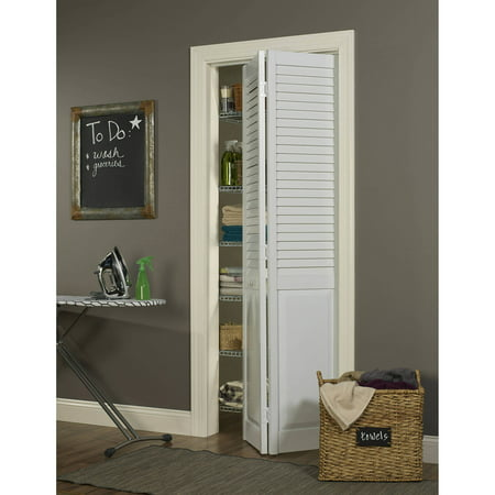 Seabrooke PVC Louver-Over-Panel Bifold Door, White