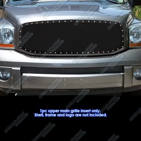 Compatible with 2006-2008 Dodge Ram Black Stainless Steel Mesh Rivet Stud Grille Grill Insert DL5318H