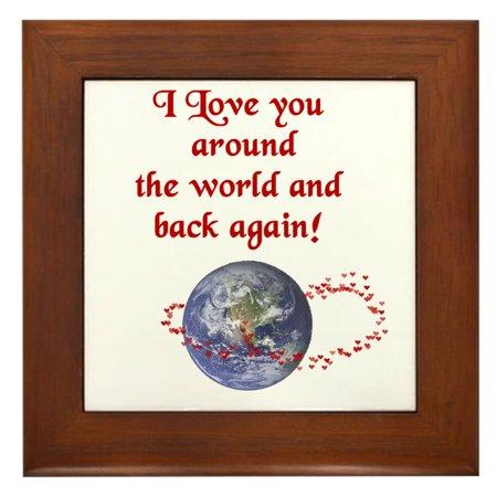 CafePress - Love You Around The World And Back - Framed Tile, Decorative Wall (World Framed Tile)