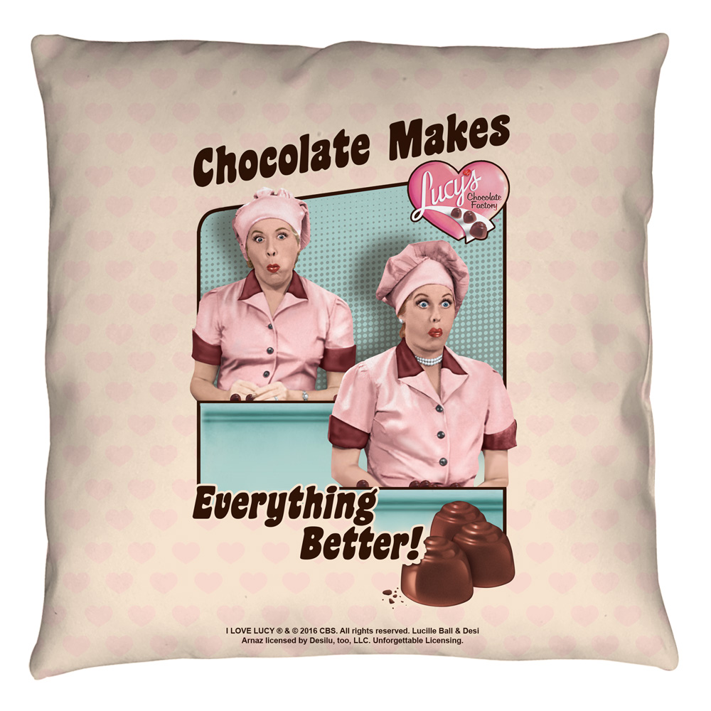 I Love Lucy Friends And Chocolate Throw Pillow White 18X18