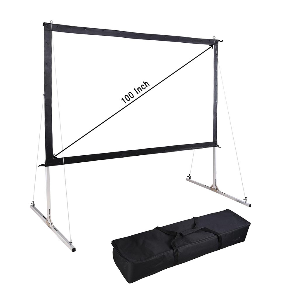 Instahibit Portable Fast Folding Projector Screen 16:9 HD with Stand and Carry Bag for Indoor Outdoor