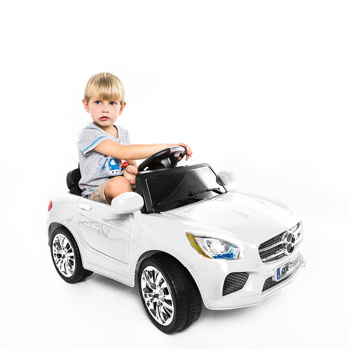 Costway 6V Kids Ride On Car RC Remote Control Battery Powered w/ LED Lights MP3 White