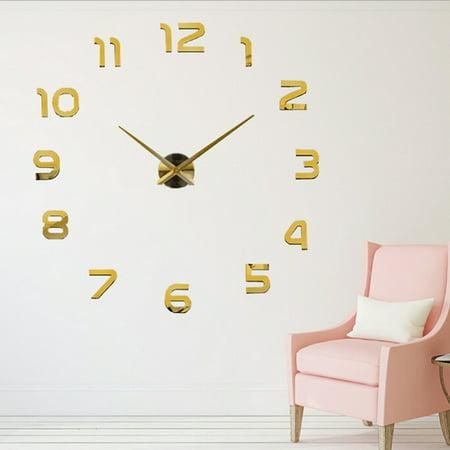 diy large wall sticker clock 3d mirror modern home office decor art