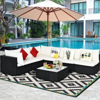 Goplus 7-Piece Patio Rattan Sofa Set Sectional Conversation Furniture Set Garden Beige