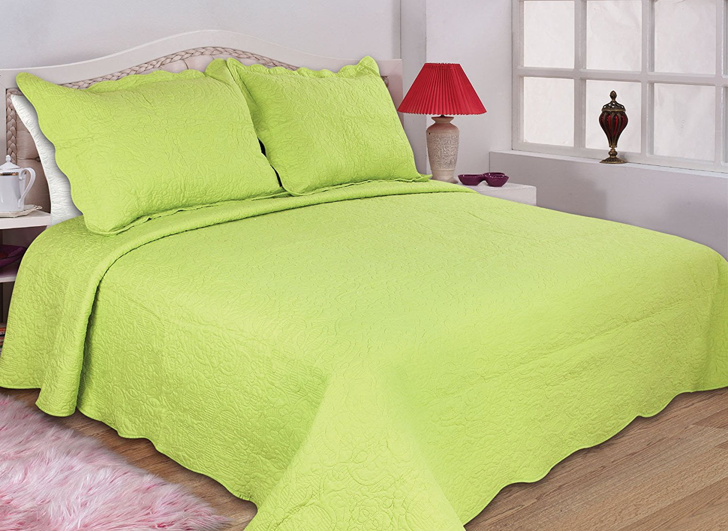All For You 2pc Reversible Quilt Set Bedspread And Coverlet 3 Different Sizes Lime Green Color Twin 68 X 86 With 1 Standard Pillow Sham Nbsp Walmart Com Walmart Com